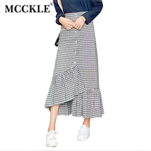 MCCKLE Women Skirts Cotton Plaid Preppy Style Long Skirt Ruffles Ankle-Length Asymmetrical Elastic Waist Buttons Summer Saia