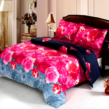 4pcs Queen Size 3D Printed Bedding Set Bedclothes Home Textiles Rose Flower Pattern Quilt Cover + Bed Sheet + 2 Pillowcases(China)