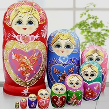 10 Layers/set 22cm Baby Toy Nesting Dolls Wooden Russian Dolls Matryoshka Doll Children Christmas Gift(China)