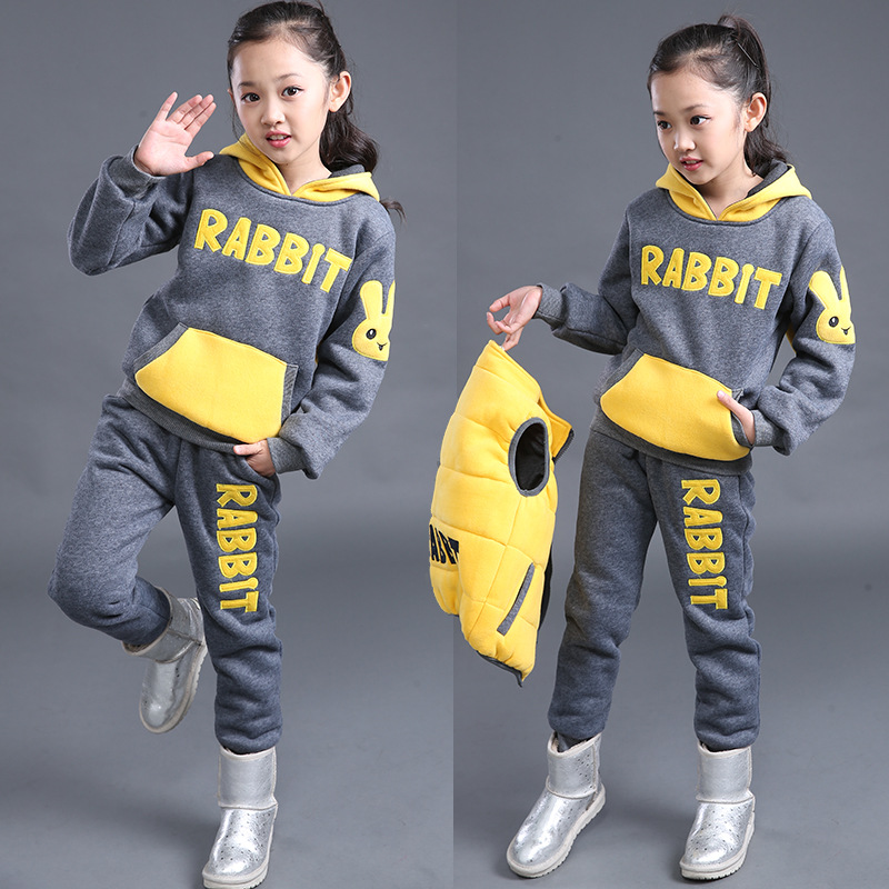 Fashion high quality korean children clothing autumn winter 3 piece hooded sleeveless coat and pants kids winter clothes<br>