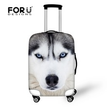 FORUDESIGNS Cool Animal Wolf Print Travel Elastic Luggage Protective Covers 3D Pet Dog Husky Suitcase Cover for 18-30 Inch Cases