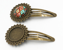 20mm 5pcs High Quality Bronze Plated Copper Material Hairpin Hair Clips Hairpin Base Setting Cabochon Cameo  J5-19