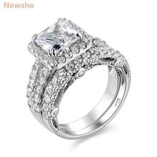 Newshe 2.8 Ct Princess Cut AAA CZ Solid 925 Sterling Silver Wedding Rings Classical Jewelry For Women JR4887(China)