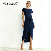 Buy VITIANA Women Plus Size XS-3XL Casual Long Dress Female 2018 Summer Elegant Short Sleeve Belt Midi Loose Party Dresses Vestidos for $12.15 in AliExpress store
