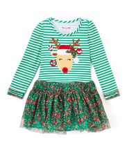 Fashion Baby Girls Deer Xmas Dress Toddler Kids Striped Dress Casual Long Sleeve Clothes(China)
