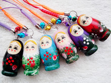 HOT Pure handmade wedding return items wooden Russian dolls cute 6pcs key chains Key ring Decoration anywhere #45642546