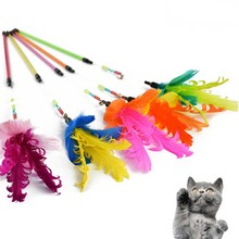 New Gooses Feather Bells Wand Stick Cat Catcher Teaser Toy Pet Kitten Jumping Train Add Fun Gooses Feather Teaser   FG