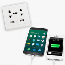 2017 New Dual USB Port Electric Wall Charger Dock Socket Power Outlet Panel Plate 2 colors Brand New(China)