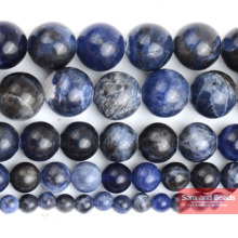 "Free Shipping Natural Stone Sodalite Loose Round Beads For Jewelry Making Strand 15"" 4 6 8 10 12mm Pick size SLB01"