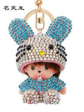 Cartoon crystal Rhinestone Hello Kitty Monchichi sleutelhanger KIKI bunny keychain key chain women bag car pendant porte clef(China)