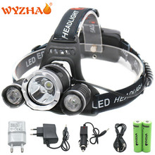 RJ3000 Head lamp 13500 lumens T6 LED headlamp floodlight Head light headlight torch +18650 battery+Car charger+USB+Charger(China)
