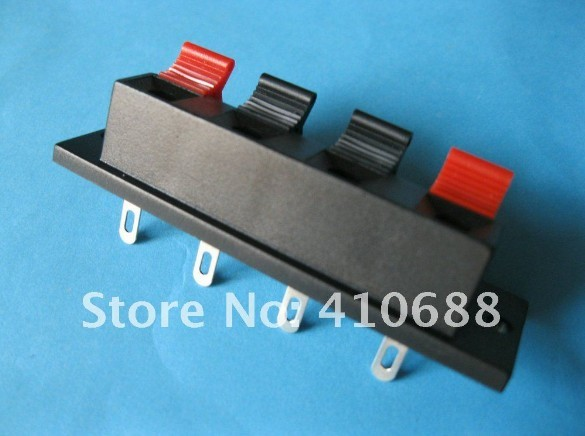 100 Pcs 64.5mmx17.6mm 4pin Red and Black Spring Push Type Speaker Terminal Board Connector WP4-7(China (Mainland))