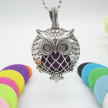 Newest Arrival Charming Owl Slide Magnetic Locket Pendant fit with 30mm Felt Pads Fashion Essential Oil Diffuser Necklace(China)