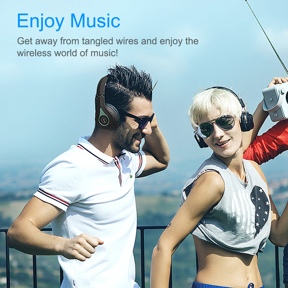 August EP640 Wireless Headphones,Enjoy Wireless Misic,Black