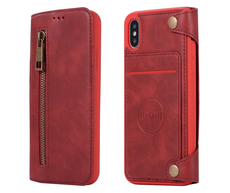 red genuine leather flip case for iPhone x luxury card holder cover