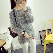 2016 Fashion Spring Winter Mohair Sweater Woemen O-Neck Warm Mohair Women Pullover Long Sleeve Casual Loose Sweater Knitted Tops(China)