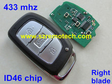 Free Shipping New Smart Remote Key Fob 433MHZ 46 Chip Right blade Fit For Hyundai Elantra(China)