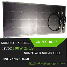 2PCS 100w Newly Black flexible solar panel; panel solar 200W for home light system; 12V or 24V battery charger