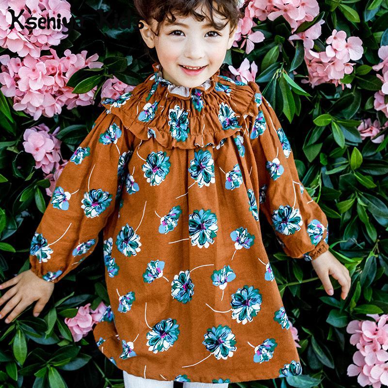 Kseniya Kids 2018 Baby Girl Autumn Winter Spring New Girls Mini Dress Cotton Flower Print Dress Childrens Dress Long Sleeve<br>