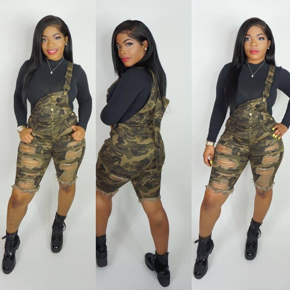 Summer New Arrival Hole Streetwear Stley Camouflage Bib Pants Female Playsuits