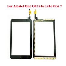 Black Touch Screen Digitizer Glass Lens For Alcatel One OT1216 1216 Pixi 7 Pixo 7 Touch Panel Digitizer Replacement(China)