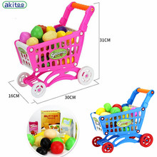 New arrival 2 Types Children Play Mini Simulation Supermarket Shopping Cart Children Shopping Trolley Car Toy Fruit toys