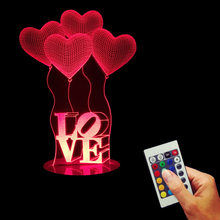 Free Shipping 1Piece LOVE Heart Ballons 3D Night Light Bulbing Table Lamp Wedding Decoration Romantic Gift 16 Colors Changing