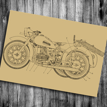 Classic Motorcycles chart Vintage posters Retro print painting Wall Stickers house decor living room bedroom bar pub cafe(China)