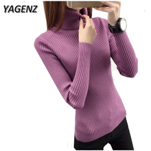 Buy 2018 Autumn/Winter New Turtleneck Sweater Women Clothing Long-sleeved Slim Knit Stretch Pullover Sweater Lady Warm Knit shirt for $9.25 in AliExpress store