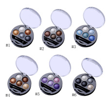 1Pcs 5 Colors Baked Eyeshadow Eye Shadow Powder Metallic Shimmer Warm Color Shadow Palette With Eyeshadow Brush Cosmetics