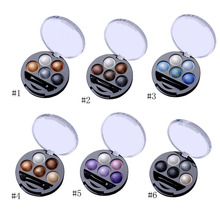 1Pcs 5 Colors Baked Eyeshadow Eye Shadow Powder Metallic Shimmer Warm Color Shadow Palette With Eyeshadow Brush Cosmetics(China)