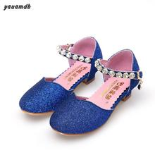 YAUAMDB kids Sandals 2017 summer girl Nubuck Leather Rhinestone shoes dance Baotou fashion children footwear y48