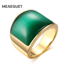 Meaeguet Vintage Women Big Stone Wedding Rings Jewelry Stainless Steel Green&Brown Stone Rings for Women Party Jewelry
