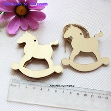 "(50pcs/lot) 70mm Blank Wooden Rocking Horse Tags Rustic Wood Christmas Tree Tags With Strings 2.8""-CT1049"