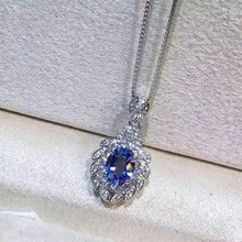 natural blue tanzanite pendant S925 silver Natural gemstone Pendant Necklace trendy Luxury elegant fruit women gift jewelry