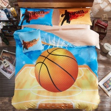 cartoon basketball print kids boys bedding sets Queen/full size 4pcs flannel fleece duvet cover set gray soft