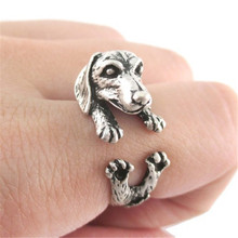 Fashion Antique Silver Realistic Lovely Dachshund Dog Puppy Animal Wrap Ring for Girl Women Gift
