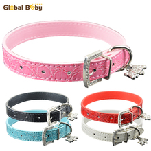 Brand Global baby Gator Leather 5 Colors Dog Pet Small Medium Collar with Fashion Charm
