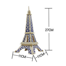2017  Eiffel Tower 3d jigsaw puzzle toys wooden adult children's intelligence toys Toy Gift Brand New High Quality May 26