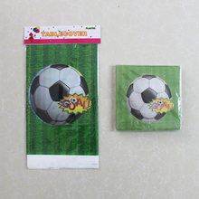 Disposable Plastic Table Cloth Football Table Cover Tablecloth Waterproof And Match Paper Napkin For Sport Party Decoration