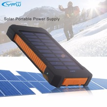 YFW 2016 Waterproof Solar Power Bank 10000mAh Dual USB Portable Solar Charger Battery with LED Light&Compass for Universal phone(China)
