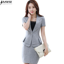 Fashion women slim Skirt suit summer OL formal short-sleeve blazer with skirt female plus size Business office uniform suits