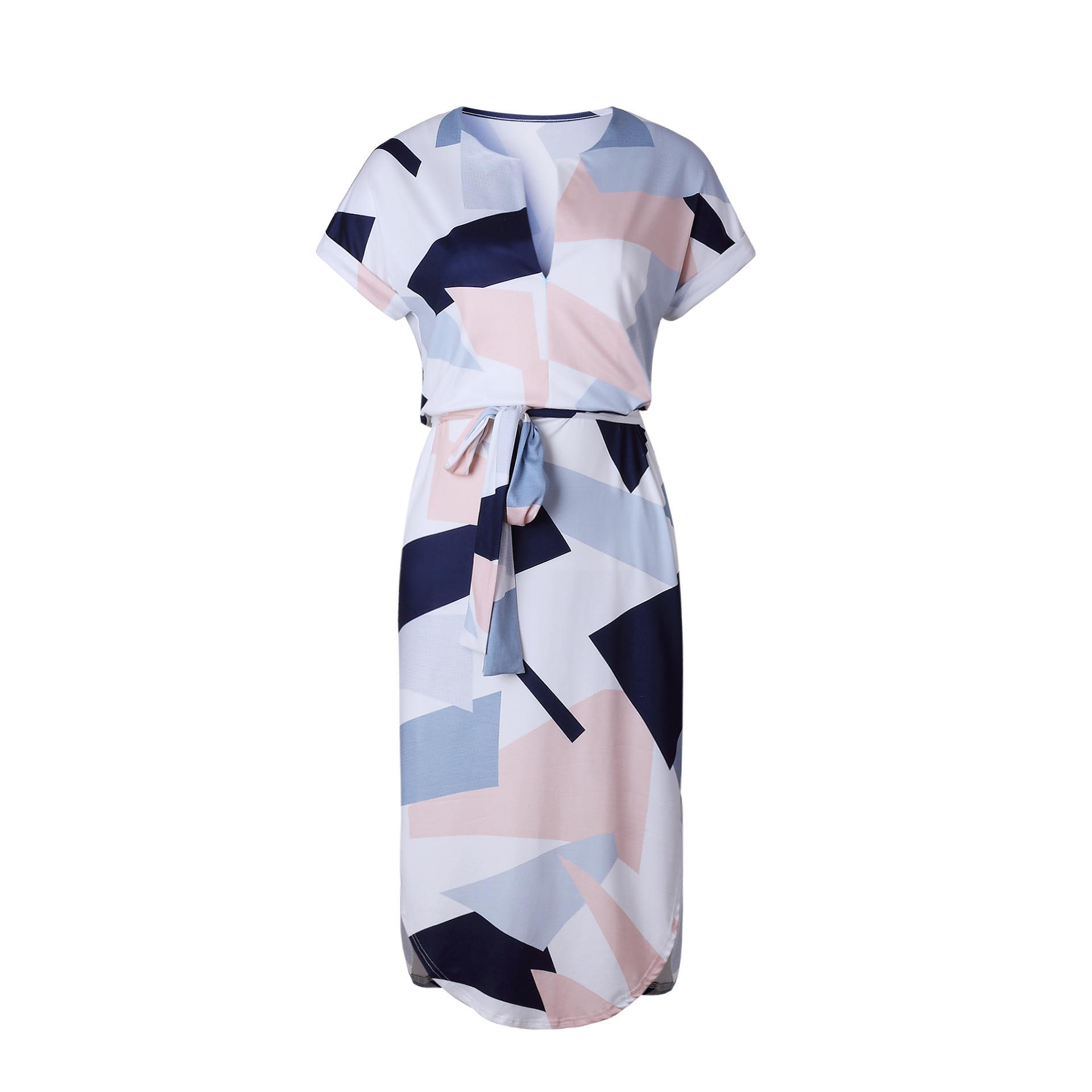 2018 Summer Dress Women Print V Neck Short Sleeve Robe Female Dresses Casual Sashes Midi Dress Ladies Elegant Vestidos Dropship 42