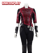 Guardians of the Galaxy 2 Gamora Cosplay Halloween Costume Women Superhero Party Suit Red Jacket Black Pants Belts 400181(China)