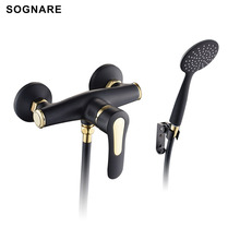 SOGNARE Bathroom Fixtures Shower Faucets Set Black With Golden Faucets-exposed Shower Tap Wall Mounted Bathtub Faucet D5104B