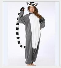 Adult Animal Onesie Lemur Long Tail Monkey Unisex Women Men's Pajamas Halloween Christmas Party Costumes CO45196217(China)