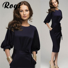 Rogi Autumn Women Work Office Dress Chiffon Bandage Bodycon Dress Womens Elegant Formal Party Pencil Dresses Vestidos Plus size