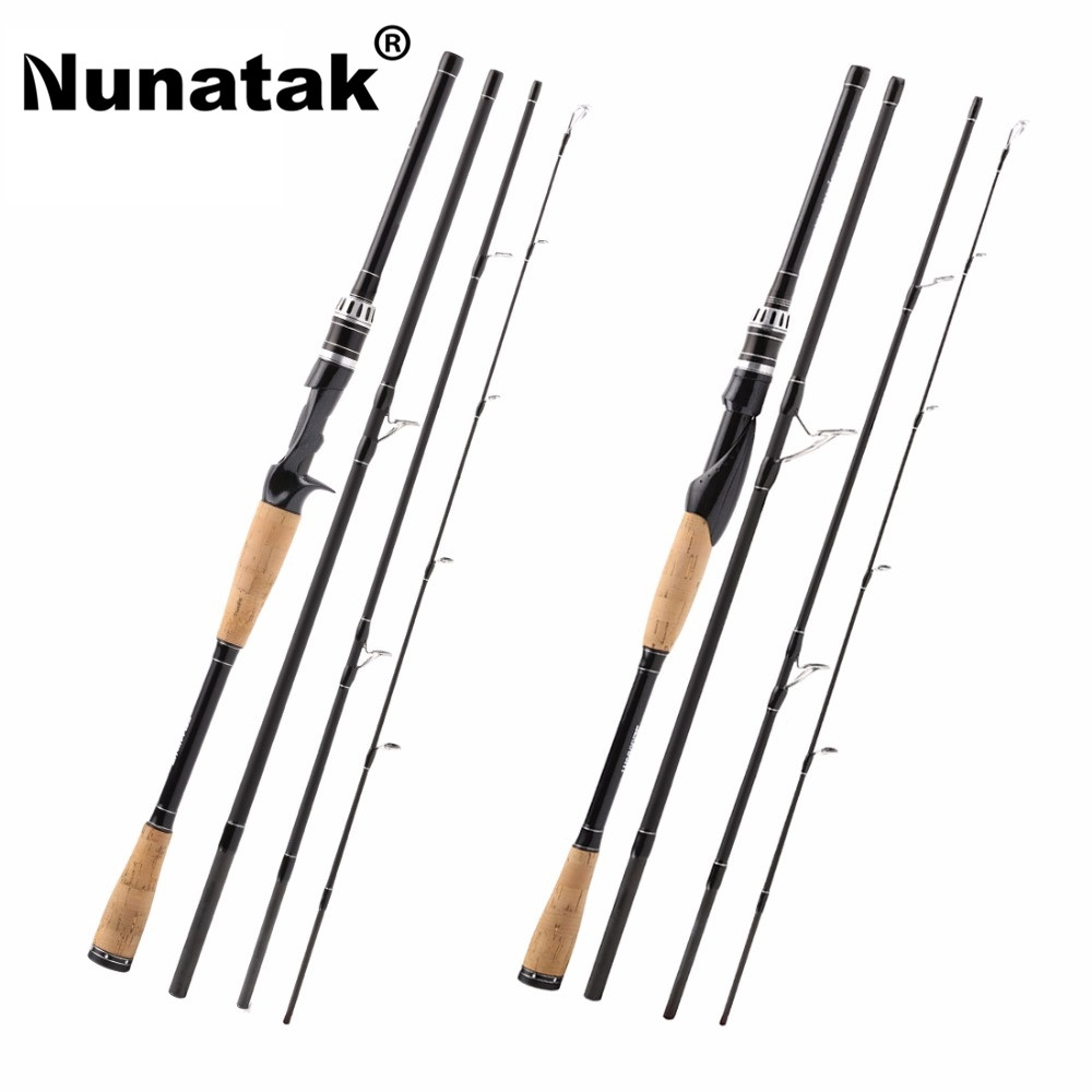 Nunatak YASHA 704 M  Fishing Rod 2.1 M 4 Sections M Power Carbon Fiber Spinning / Fishing Rod Travel Stem 12-25LB 10-30g<br>