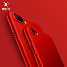 Baseus Luxury Smooth Red Case For iPhone 7 7 Plus X 6 6s Plus 5 SE 5s Case Ultra Thin Hard PC Plastic Back Phone Cover Cases(China)