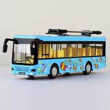 1:50 scale city Air conditioned trolley diecast bus metal model with light and sound pull back alloy toys for kids collection